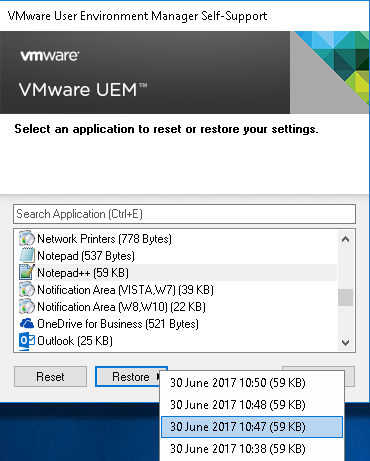 Roaming Windows Application Settings with VMware UEM